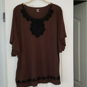 EUC A.N.A. chocolate brown flutter sleeve top 2X